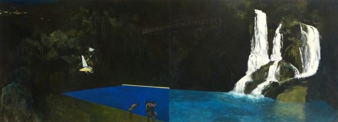 Les bains (1000x2745mm) 2012 - huile et crayon sur médium
