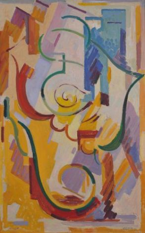 Albert Gleizes Arabesque (composition bleu,blanc, violet), 1952
