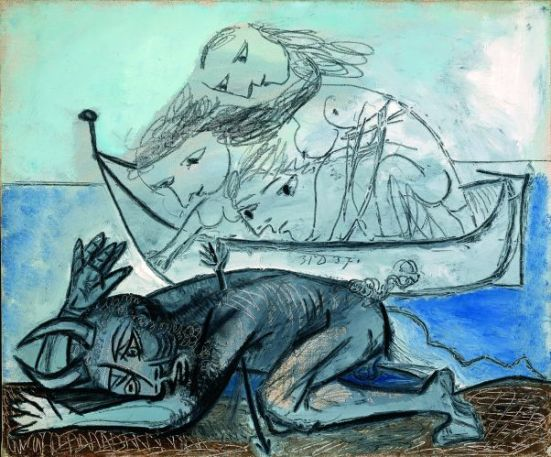 Pablo Picasso, Barques de naïades et faune blessé, 31 décembre 1937. Huile et fusain sur toile, 46x55 cm Collection Particulière © Photo Maurine Aeschimann, Genève © succession Picasso 2013