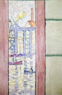 """Detail de la restauration sur le panneau """"aux 5 fenêtres"""""""