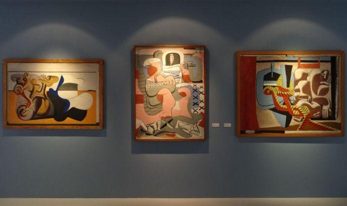 Le Corbusier, Nature morte à la racine et au cordage jaune, 1930, Pêcheuse d'huîtres, 1935 et le carton pour tapisserie Marie Cuttoli, 1935