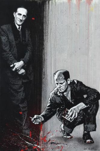Jef Aerosol, Jackson Pollock et Marcel Duchamp, 195 x 130 cm