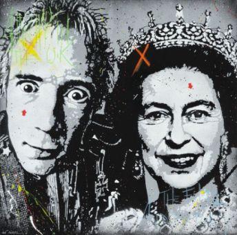 Jef Aerosol, Johnny Rotten et Queen Elizabeth, 100 x 100 cm