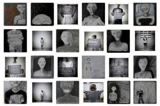 José Ramon Bas, Bango, 2011, photographies, dessins et résine, 120 x 180 cm