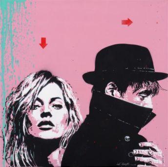 Jef Aerosol, Pete Doherty et Kate Moss, 70 x 70 cm