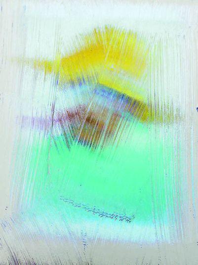 Bertrand Lavier, Reflet de l'Autoportrait à la pipe et au chapeau de paille de Vincent van Gogh dans une œuvre de Bertrand Lavier