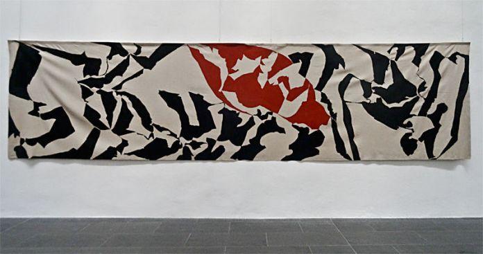 Albert Ayme, Frise n°2, 1962, Peinture vinylique sur toile sans châssis, Don de l'artiste 2007 - Musée Fabre, 2014