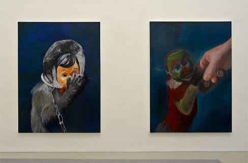 Mélanie Lefebvre, Topeng Monyet I & II, huile sur toile, 150x230cm, 2014