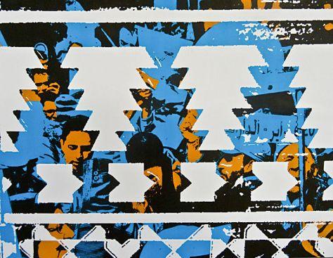Mourad Krinah, Zelij # 1 – Tétouan, 2014. Papier peint serigraphie trois couleurs. Production : Trankat, Espace d'Art Le Moulin