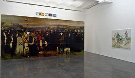 """Gérard Collin-Thiébaut, Gustave Courbet, Un enterrement à Ornans, 1997 et Filip Francis, Copie de """"La rencontre"""" de Courbet dans le champ de vision périphérique 1994"""