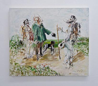 """Filip Francis, Copie de """"La rencontre"""" de Courbet dans le champ de vision périphérique 1994"""