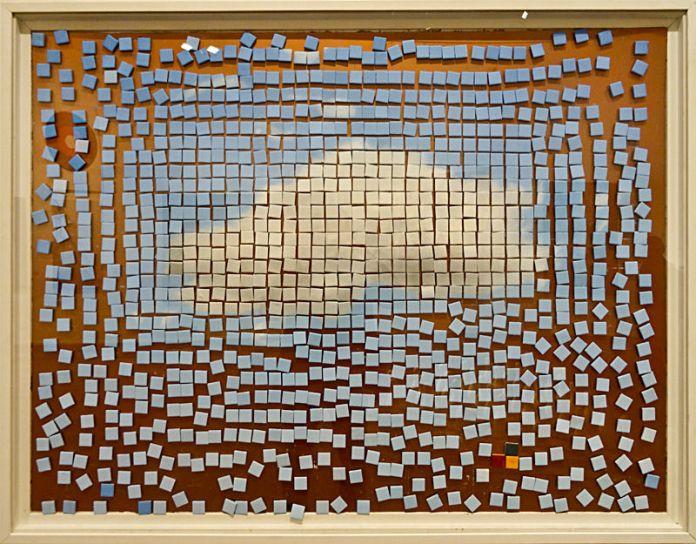 Patrice Palacio, Cloud, 2013. Peinture à l'huile sur fragments magnétiques sur cuivre, 125 x 95 cm. Collection Idate