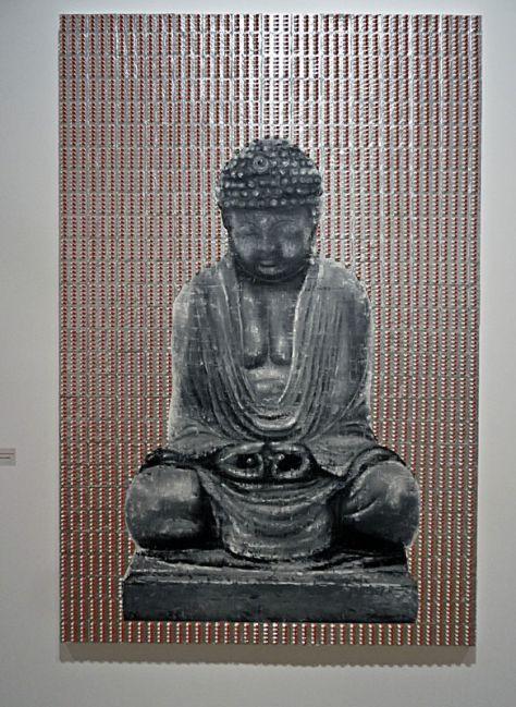 Patrice Palacio, Sans titre, 2010 . Huile sur toile, Anxiolytiques sous blisters, résine, 195 x 130 cm. Collection R.Castang - Perpignan