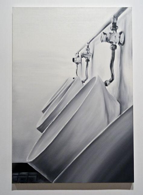 Patrice Palacio, Urinoirs (musée Paul Valery – Sète).Huile sur toile, 130 x 89 cm. Collection de l'artiste_1