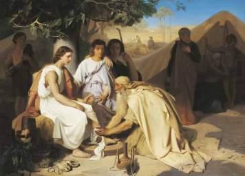 Abraham lavant les pieds aux trois anges, Émile Levy, Paris, 1854
