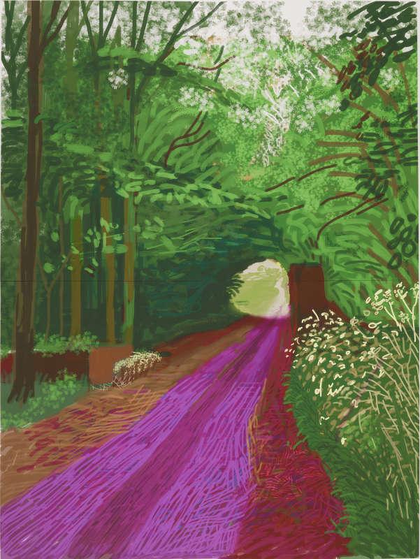 David Hockney, L'Arrivée du printemps à Woldgate, Est du Yorkshire en 2011 (deux mille onze) – 31 mai, N° 1 Dessin sur iPad imprimé sur quatre feuilles de papier (118,1 x 88,9 cm chacune), montées sur quatre panneaux Dibond®, 236,2 x 177,8 cm au total Premier exemplaire sur un tirage de 10 © David Hockney Photographe : Richard Schmidt Collection de l'artiste