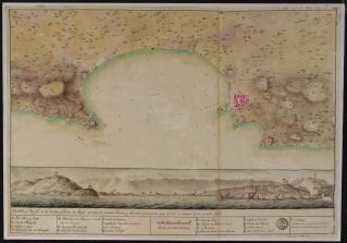 Nicolas Berlinguero, Plano y Perfil de la Ciudad, y Bahia de Argel, 1775, carte manuscrite, 49,8 X 71 cm. Bibliothèque nationale de France © BnF