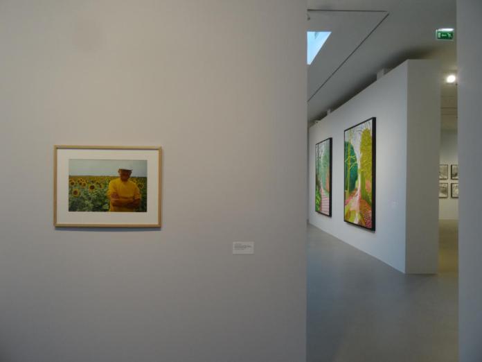 Lucien Clergue, David Hockney et les tournesols, route de Tarascon, Arles, 1985. David Hockney, L'Arrivée du printemps. Vue de la salle d'exposition -Fondation Vincent van Gogh Arles