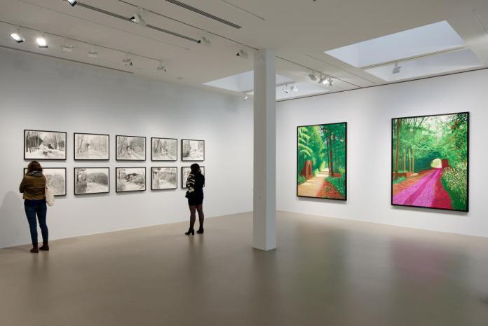 David Hockney, L'Arrivée du printemps. Vue de la salle d'exposition. © François Deladerrière-Fondation Vincent van Gogh Arles
