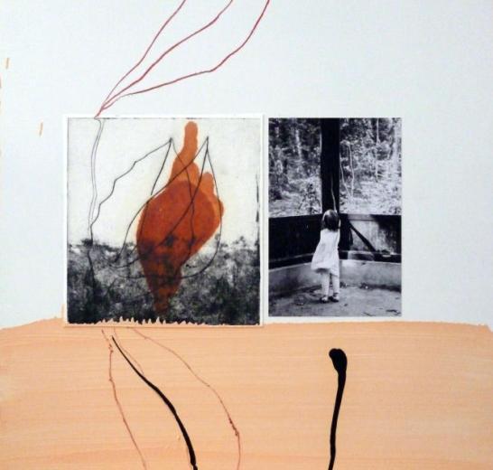 Joël Leick, Ysé et le paysage, 2015. Huile, crayon, photographie sur panneau en fibre de bois, 46 x 38 cm