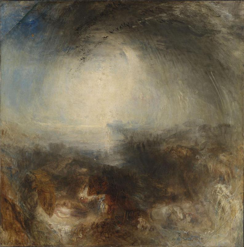 TURNER William (1775 - 1851) Ombre et obscurité – le soir du Déluge - Exposé en 1843 - Huile sur toile - 787 x 781 mm - Tate. Accepté par la nation dans le cadre du legs Turner, 1856 © Tate, London 2015