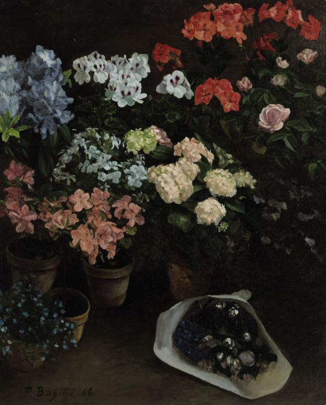 Frédéric Bazille, Pots de fleurs, 1866. Huile sur toile. 97 x 88 cm. Collection particulière. Photograph Courtesy of Sotheby's, Inc. © 2004