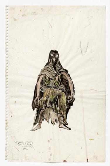 André Acquart, Planche originale pour le costume d'un personnage des Paravents : Leïla, 1966. © Fonds Jean Genet/IMEC, photo Michael Quemener, André Acquart/ADAGP, Paris 2016