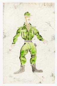 André Acquart, planche originale pour le costume d'un personnage des Paravents : le Sergent, 1966. © Fonds Jean Genet/IMEC, photo Michael Quemener, André Acquart/ADAGP, Paris 2016