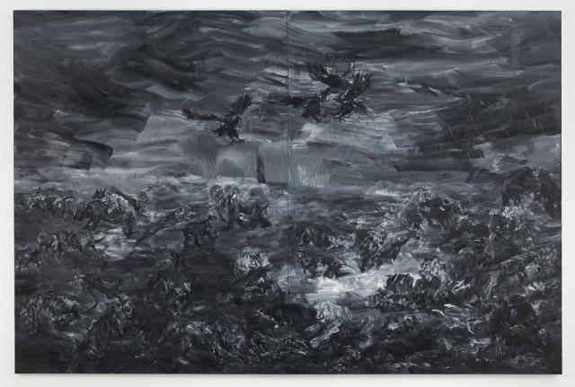 Exposition Ruines du temps réel - Yan Pei-Ming, -A l'est d'Eden, 2015, diptyque, huile sur toile, 400 x 600 cm - Photographe André Morin © Yan Pei-Ming, ADAGP Paris 2016