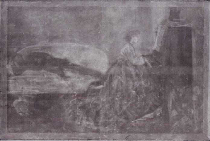 Frédéric Bazille, Jeune-fille au piano, 1865-1866. Huile sur toile - 138 x 202 cm Radiographie du tableau Ruth et Booz Photo : Paris, C2RMF