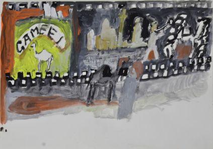 Anna Boghiguian, Cotton-Suez Canal, Camel, 2011 crayon et aquarelle sur papier / pencil and watercolour on paper 29,5 x 42 cm. Courtesy de l'artiste & Sfeir-Semler Gallery Hambourg/Beyrouth. © Anna Boghiguian.
