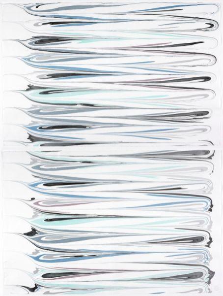 Xavier Antin, Partition pour Baris, 2016 Impression à l'aide de pigments naturels sur papier marbré 65 x 99,2 cm chaque Imprimeur : Atelier Artebru, Baris Yilmaz Baykul, Paris FNAC 2016-0039 © ADAGP, Paris, 2016