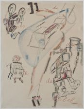 Antonin Artaud, La Bouillabaisse de formes dans la tour de Babel, février 1946, crayon et craies de couleur sur papier. Direction des Musées de Marseille, Musée Cantini © Musée Cantini, photo Claude Almodovar et Michel Vialle / Antonin Artaud © ADAGP, Paris, 2016
