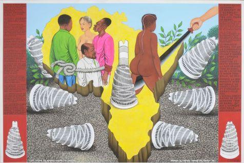 Chéri Samba, Les Tours de Babel, 2008, acrylique sur toile, collection privée, Paris, Chéri Samba © Matthieu Lombard / Collection privée