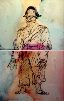 Jean-Marc Cerino, Personnage du Valais suisse (Anonyme du XIXe siècle), 2014, peinture à l'huile sur verre, 202 x 132 cm. Photo Galerie Bernard Ceysson. Collection Frac Languedoc-Roussillon