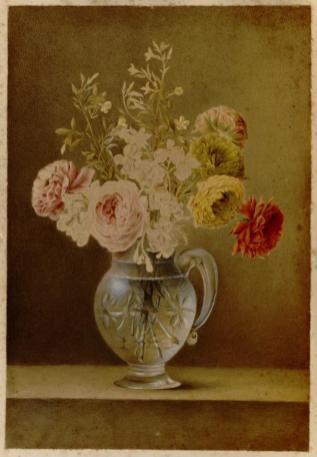 Marie-Thérèse Vien, Fleurs dans un vase de cristal, aquarelle et pastel, Montpellier, musée Fabre
