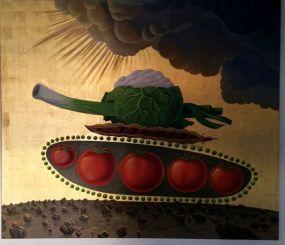 Milan Kunc Vitamin Attack 2005 Peinture à l'huile et feuille d'or sur toile © DR