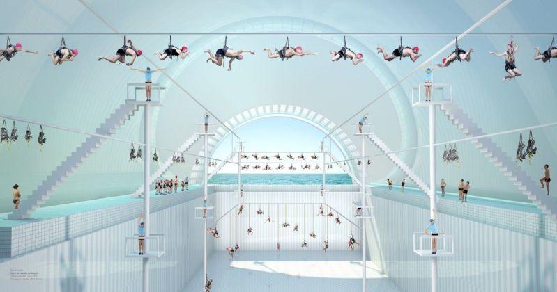 Muriel Bordier, La lecon de natation, serie «Les Thermes» © Muriel Bordier