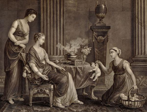 Joseph-Marie Vien (dessinateur), Jacques Firmin Beauvarlet (graveur), La Marchande d'Amours, 1797, gravure, Montpellier, musée Fabre