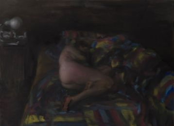 Florin Stefan, Morpheus' bed, 2017. Huile sur toile 110 x 160 cm. courtesy de l'artiste et galerie Anne-Sarah Bénichou