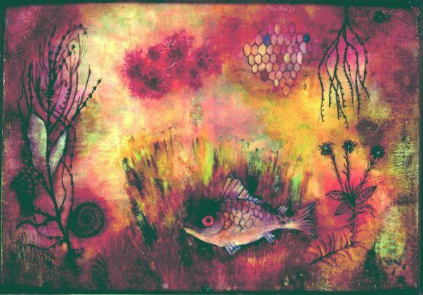 Hans Reichel Roetl Fisch im Moos (Poisson rouge dans la mousse), 1927 Huile sur carton marouflé sur carton, 22 x 31 cm © Hans Reichel Courtesy Galerie Jeanne Bucher Jaeger, Paris Photo : J.-L. Losi