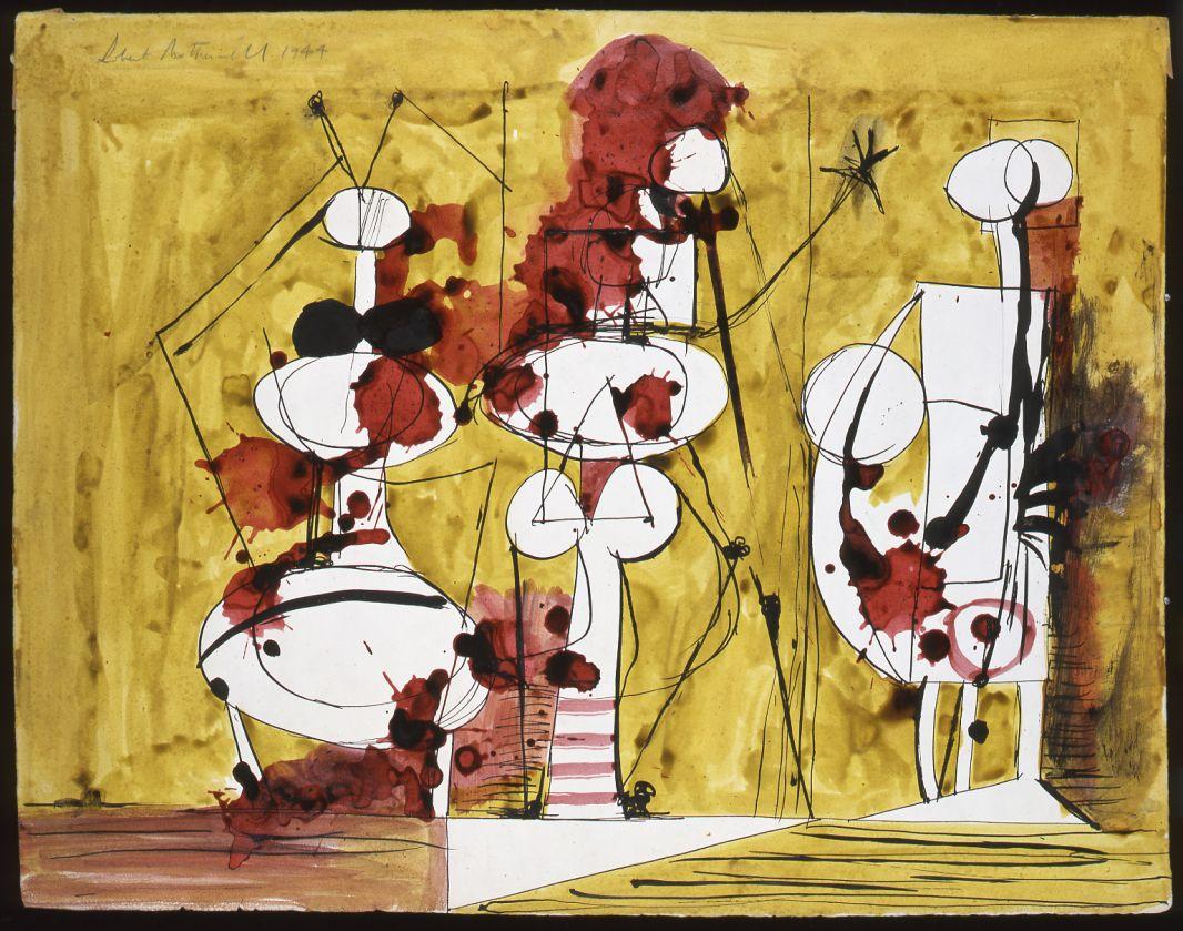 Robert Motherwell Sans titre, 1944 Encres de couleurs sur papier, 40 x 51,5 cm © Robert Motherwell. Courtesy Galerie Jeanne Bucher Jaeger, Paris © ADAGP, Paris 2017