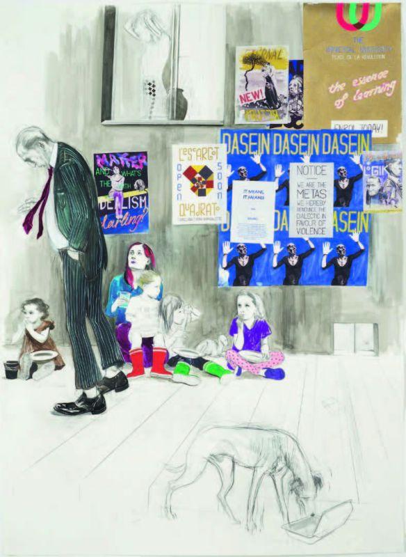 Charles Avery, Sans titres (mendiants près de l'Octogone du Noumenon), 2013 Crayon, encre, acrylique et gouache sur papier contrecollé sur toile 114 x 83.6 cm Courtesy Grimm Gallery, Amsterdam