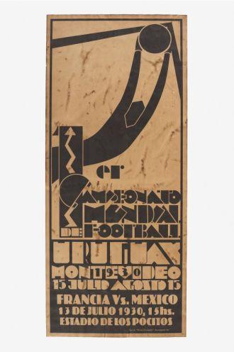 """Guillermo Laborde, Affiche du 1er match de la 1ere Coupe du Monde 1930. Mucem Yves Inchierman - Exposition """"Nous sommes Foot"""" au Mucem - Marseille"""