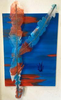 Romain Vicari - Mirage, 2017 - Huile sur toile, métal et résine - 70 x 100 cm