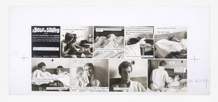 Raymond Cauchetier, maquette originale du ciné-roman A bout de souffle paru dans Le Parisien Libéré en 1969. Adaptation du film de Jean-Luc Godard avec Jean Seberg et Jean-Paul Belmondo sorti en 1960. Carton, tirages photographiques collés. Collection Mucem © Raymond Cauchetier. Cliché: Mucem/Yves Inchierman