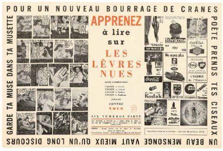 Apprenez à lire sur Les Lèvres nues, affiche annonçant la parution du numéro 6 de la revue Les Lèvres nues (dir. Marcel Mariën), Paris, 1955