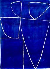 Caroline Denervaud, Bleu 3, 2017. Caséine et pastel. 100 x 70 cm - Shapes, Body and Soul - Double V Gallery