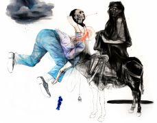 Mohamed Lekleti, Confidences, 2017. technique mixte sur toile, 114x146 cm