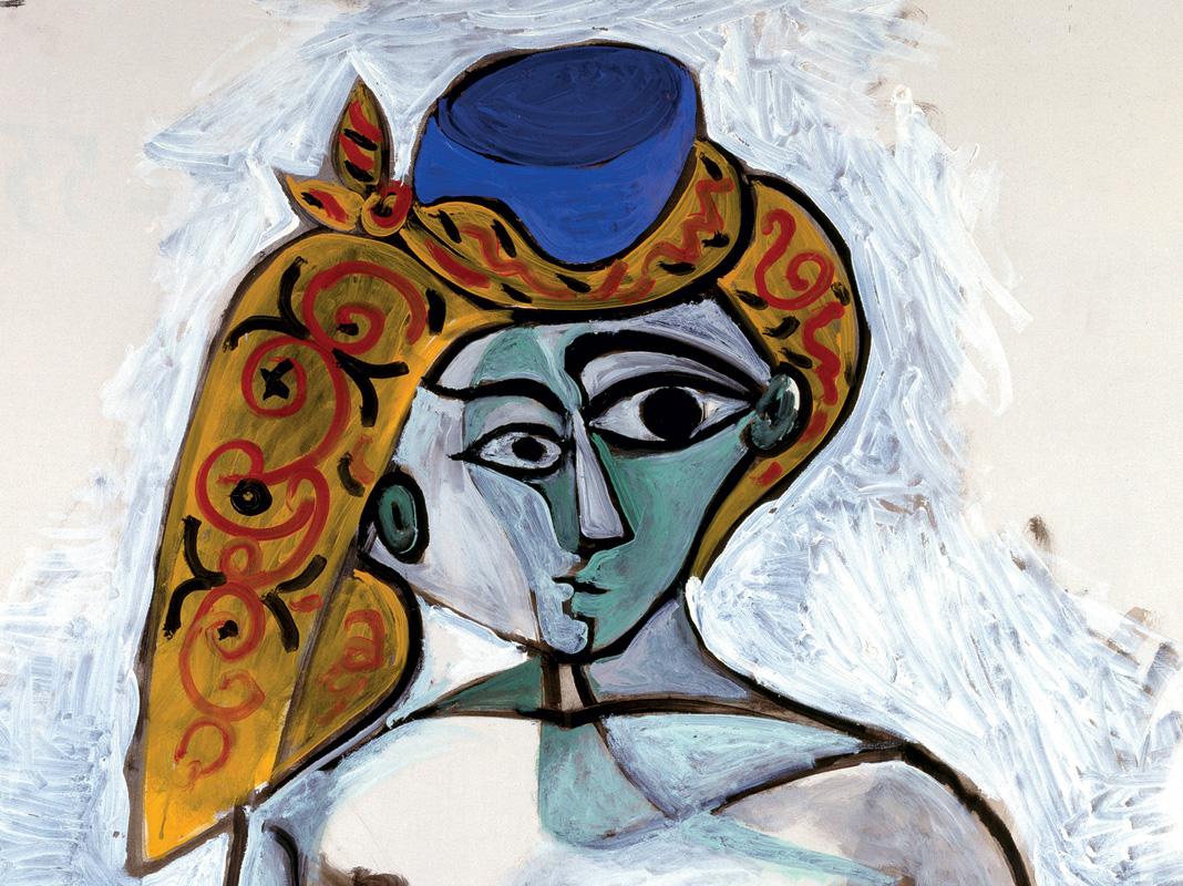 Pablo Picasso Femme nue au bonnet turc 1er décembre 1955 huile sur toile 116 x 89 cm Centre Pompidou, Paris. Musée national d'art moderne - Centre de création industrielle. Donation Louise et Michel Leiris, 1984. En dépôt depuis le 2 septembre 1998 au Musée national d'art moderne - Mnam / Cci © Succession Picasso 2018 - Picasso, voyages imaginaires à la Vieille Charité - Marseille